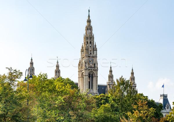 Történelmi városháza Bécs Ausztria épület fák Stock fotó © manfredxy