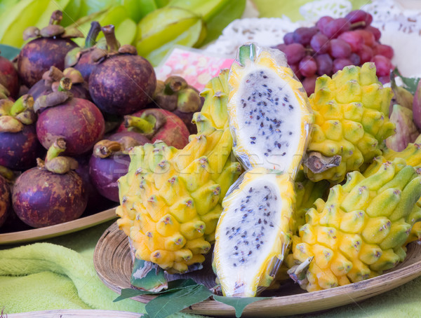 Exotic dragonfruits at the market Stock photo © manfredxy