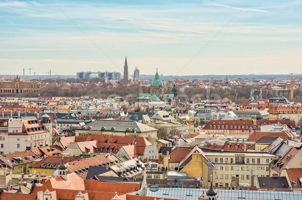 Stock fotó: Légifelvétel · város · München · épületek · sziluett · építészet
