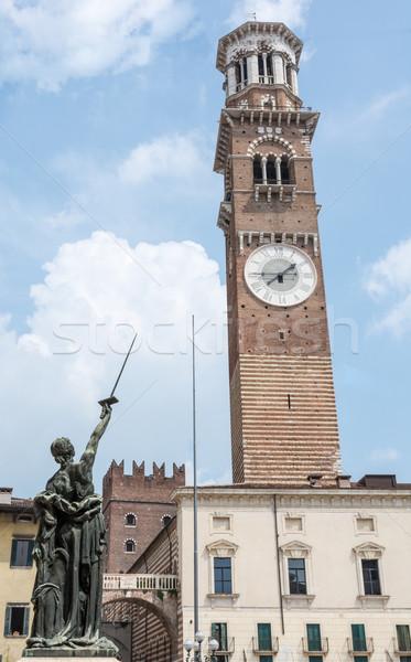 Torre verona histórico Itália arquitetura escultura Foto stock © manfredxy