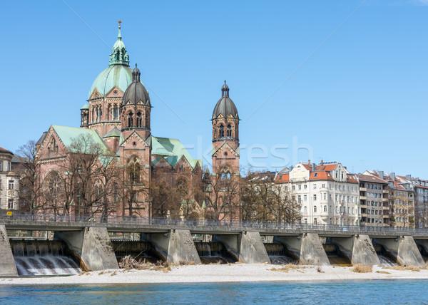 Igreja Munique água edifício edifícios rio Foto stock © manfredxy