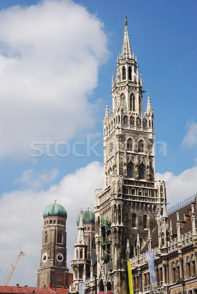 Ville maison Munich église bleu bâtiments Photo stock © manfredxy