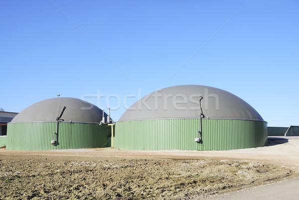 Biogáz erőmű megújuló energia gyártás épület gyár Stock fotó © manfredxy