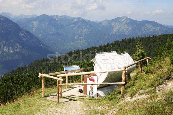 şezlong alpler manzara dağ dinlenmek dağlar Stok fotoğraf © manfredxy