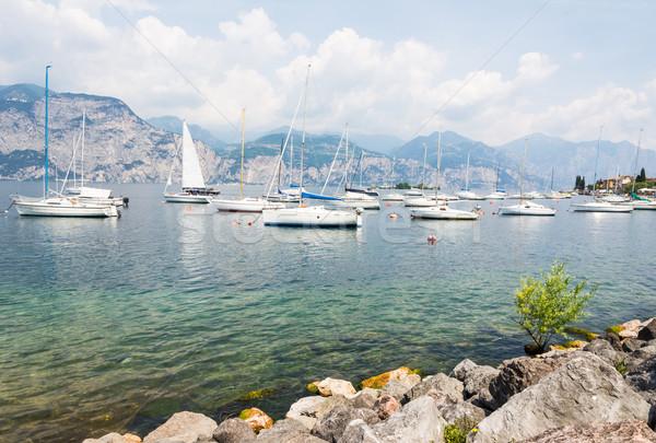 Jachthaven gardameer zeilen boten Italië water Stockfoto © manfredxy