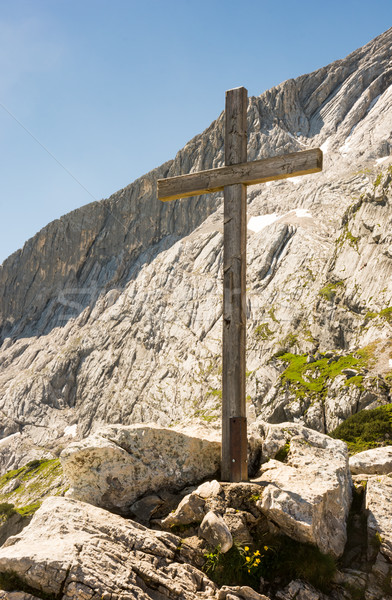 Wooden summit cross in the alps Stock photo © manfredxy