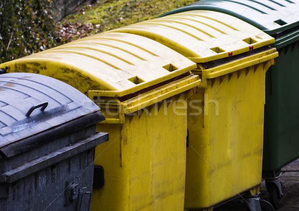 Row of garbage cans for waste separation Stock photo © manfredxy