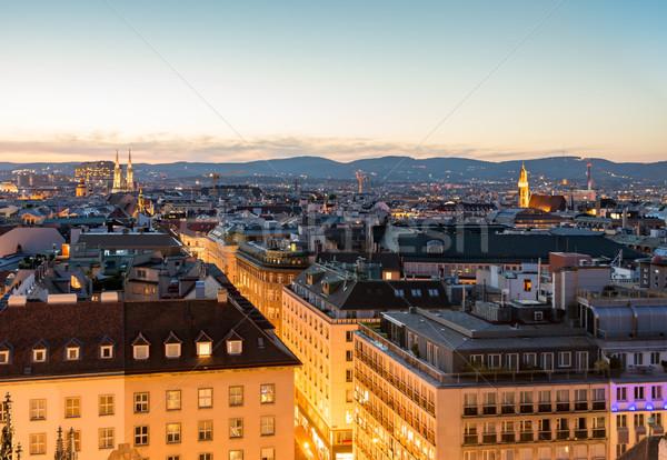Luchtfoto stadsgezicht Wenen nacht Oostenrijk gebouw Stockfoto © manfredxy
