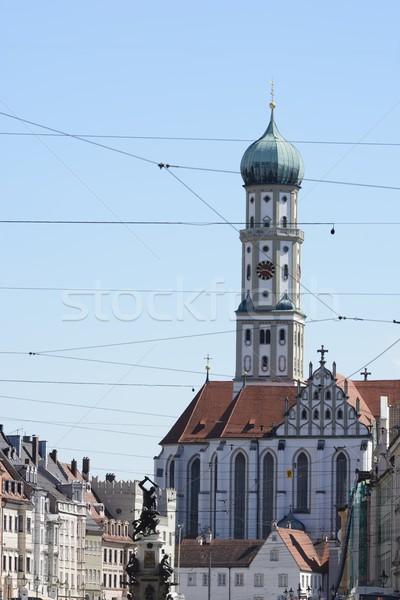 Bazilika város templom városi szökőkút Németország Stock fotó © manfredxy