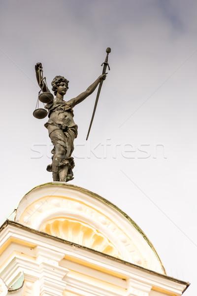 Pani sprawiedliwości rzeźba starówka sali sztuki Zdjęcia stock © manfredxy