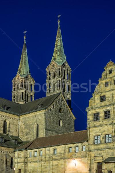 Megvilágított katedrális épület éjszaka fények Európa Stock fotó © manfredxy