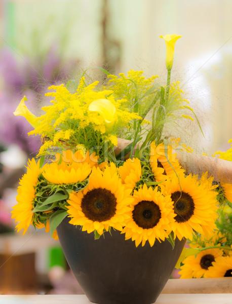 Vase gelb Sonnenblumen Bouquet Blume Stock foto © manfredxy