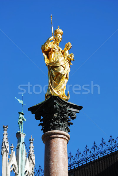 Goud sculptuur gouden Blauw stedelijke München Stockfoto © manfredxy