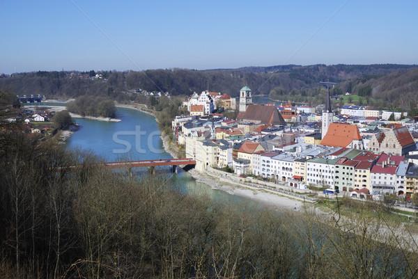 Ansicht Stadt Fluss inn Haus Kirche Stock foto © manfredxy