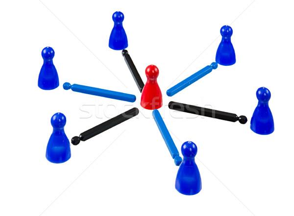 Gebouw netwerk teamwerk leider midden Blauw Stockfoto © manfredxy