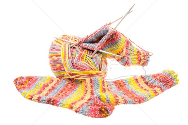 Geïsoleerd wollen sokken uitrusting handgemaakt Stockfoto © manfredxy