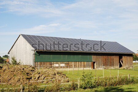 Barátságos energia nap tető fából készült csőr Stock fotó © manfredxy