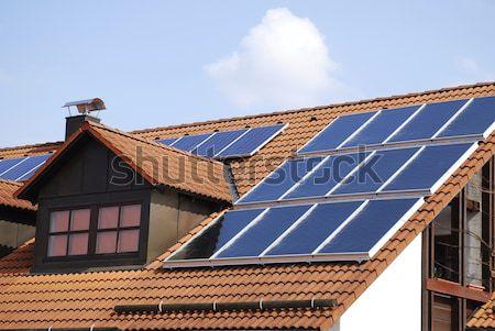 太陽光発電 屋根 家 環境 革新 ストックフォト © manfredxy