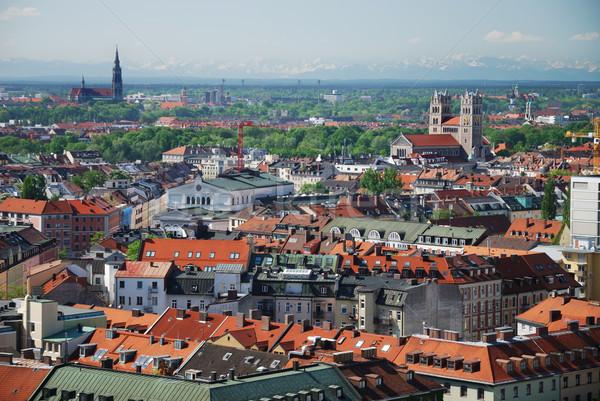 Ansicht München Stadt Alpen städtischen Dach Stock foto © manfredxy