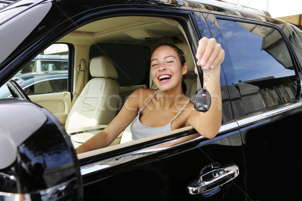 woman showing keys of her new 4x4 off-road vehicle Stock photo © mangostock