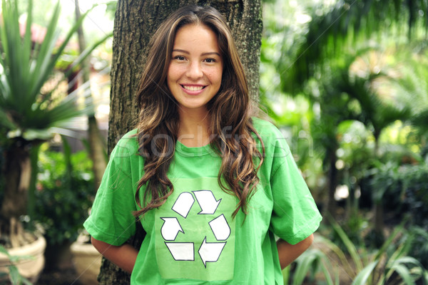 environmental activist  in the forest wearing recycle t-shirt Stock photo © mangostock