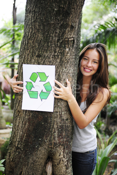 Photo stock: Recyclage · femme · forêt · recycler · signe