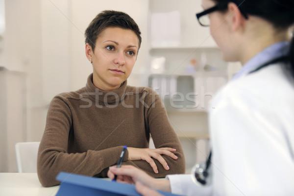 Pszichológus lehangolt beteg iroda orvos gyógyszer Stock fotó © mangostock