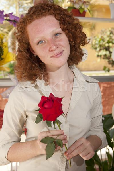 Nő tart egy szál rózsa virág ajándék tavasz Stock fotó © mangostock