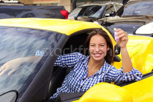 Kobieta klucze nowego szczęśliwy Zdjęcia stock © mangostock