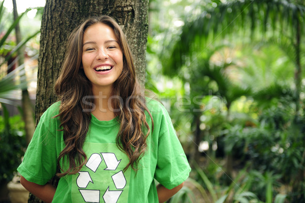 Stock photo: environmental activist  in the forest wearing recycle t-shirt