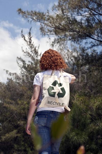 Stockfoto: Vrouw · recycling · slechte · natuur · duurzaam · lifestyle