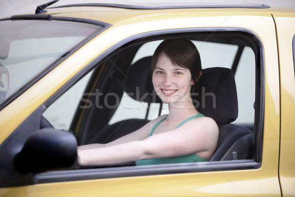 Gelukkig vrouw jonge vrouw rijden voorjaar Stockfoto © mangostock