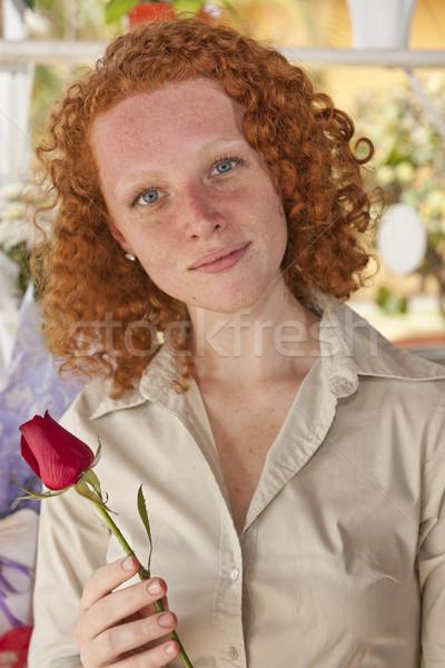 Kobieta single róża kwiat dar wiosną Zdjęcia stock © mangostock
