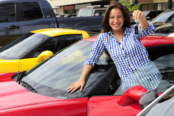 woman showing key of new sports car Stock photo © mangostock