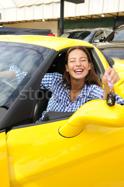 woman showing sitting inside of her new sports car Stock photo © mangostock