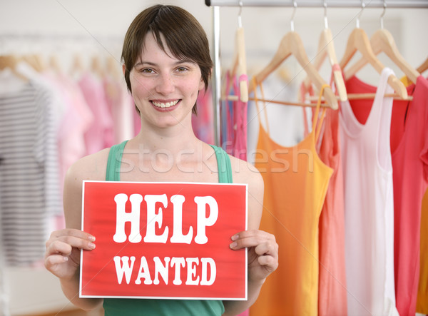 Happy owner of store with help wanted sign Stock photo © mangostock