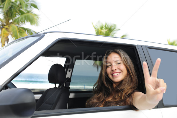 car rental: happy woman in her car near the beach Stock photo © mangostock