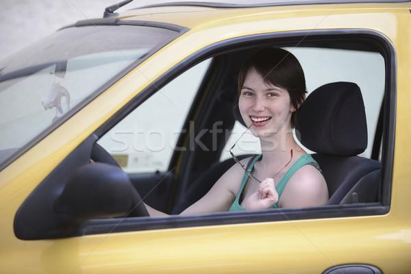 счастливым женщину автомобилей очки Новый автомобиль Сток-фото © mangostock