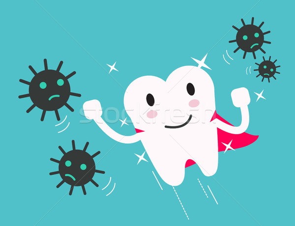 superhero healthy tooth attack bacteria and germ.  Stock photo © mangsaab