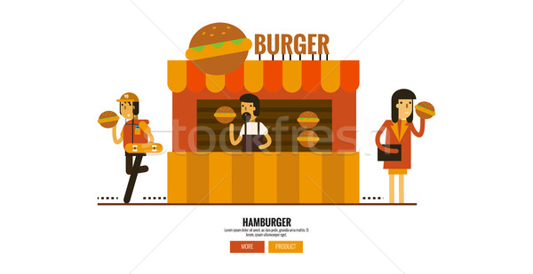 Hamburger shop on the street with customers. Stock photo © mangsaab