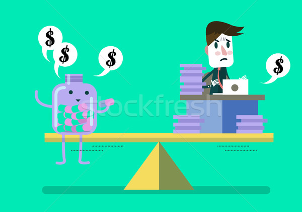 Man working hard compare with pill bottle (medical fee). Stock photo © mangsaab