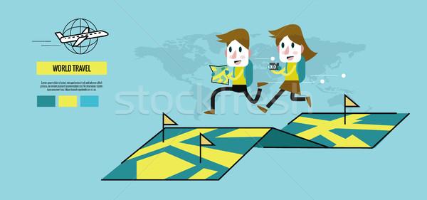 Man and woman running on the map.  Stock photo © mangsaab