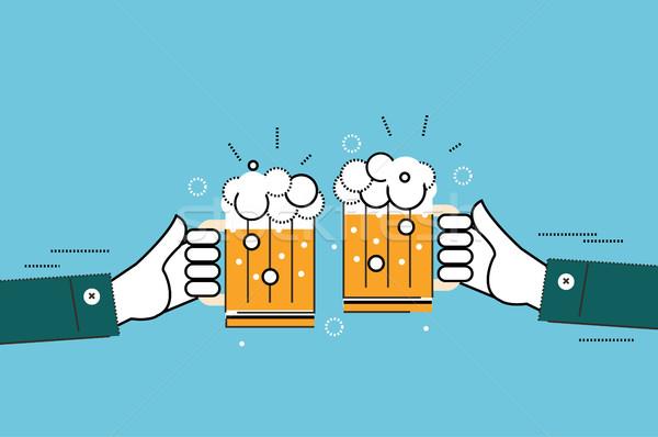 Dos empresarios gafas cerveza negocios Foto stock © mangsaab
