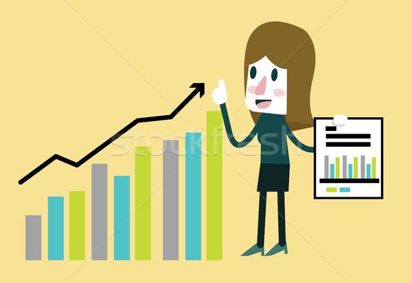 Mujer de negocios feliz estadística financieros beneficio Foto stock © mangsaab