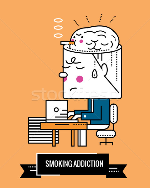 Smoking Addiction. Nicotine a mental illness.  Stock photo © mangsaab