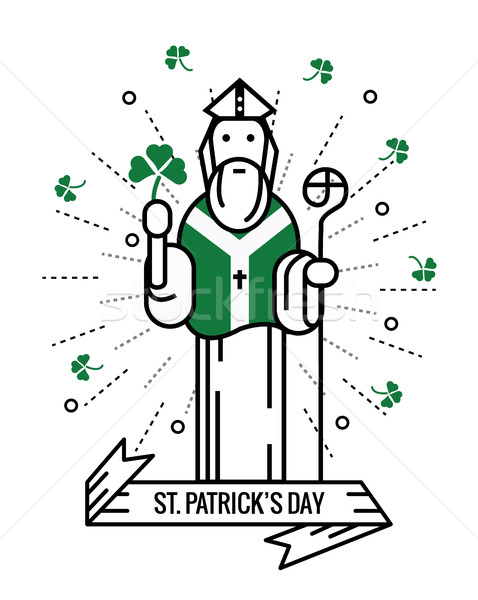 Saint Patrick with  lucky clover.  Saint Patrick's day. Stock photo © mangsaab