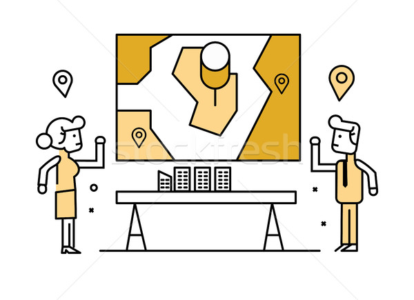 Business people  presenting and sharing location planing on board.  Stock photo © mangsaab