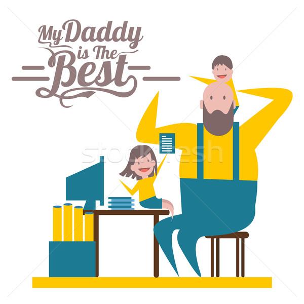 Mutlu babalar günü baba çocuklar çalışmak büro karakter Stok fotoğraf © mangsaab