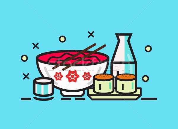 Sushi rodar ramen comida japonesa comida línea Foto stock © mangsaab