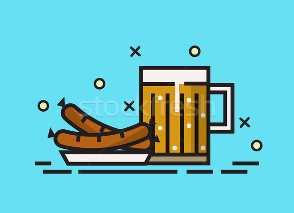 Beer, and grilled sausages. Stock photo © mangsaab